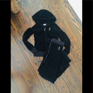Black Velour Juicy Couture Tracksuit size small